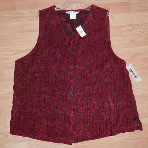 NEW Vintage Melrose Studio 1X Red Chenille Vest